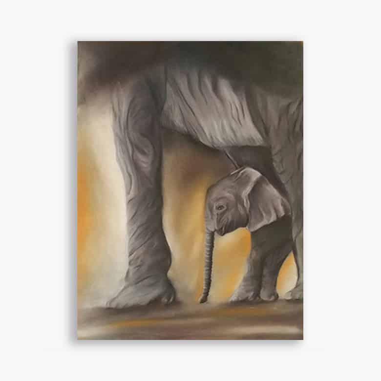 Pastel Elephant et éléphanteau