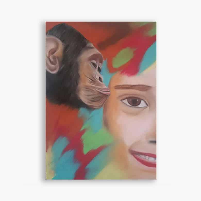 pastel l'enfant et le singe