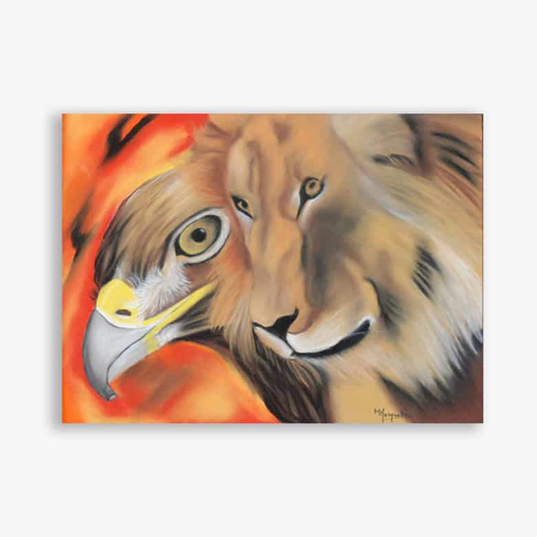 Pastel Aigle et Lion